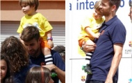 Piqué 'vã mồ hôi' chăm con tại sự kiện của Barcelona