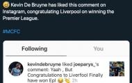 CĐV Liverpool phát hiện De Bruyne 'phản bội' Man City