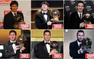 Toàn cảnh 6 danh hiệu Quả bóng vàng của Lionel Messi