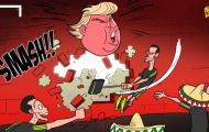 Hí họa cầu thủ Mexico đập vỡ 'bức tường' Donald Trump