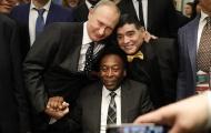 Tổng thống Putin chứng kiến Maradona hôn trán Pele ở lễ bốc thăm