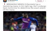 HLV Valverde: 'Chấn thương gân kheo của Dembele là một cú sốc lớn'
