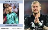 SỐC! De Gea được đổi tên thành 'David de Gea... Karius'