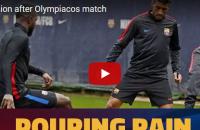 Buổi tập dưới mưa của các cầu thủ Barca