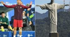 Cảnh Ronaldo bị triệt hạ giống với... Chúa Jesus bị đóng đinh