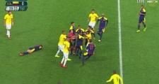 Loạn đả ở trận đấu giữa Olympic Brazil và Colombia