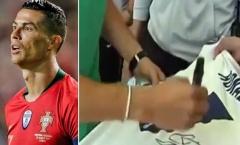 Phản ứng bất ngờ của Ronaldo khi được CĐV đề nghị ký tên lên áo Real