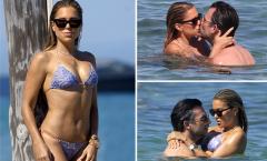 Vợ cũ Van der Vaart âu yếm công khai với hôn phu giữa bãi biển