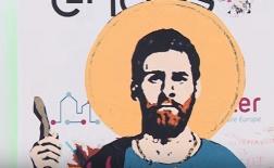 Bức ảnh về thánh Messi xuất hiện giữa thành phố Barcelona