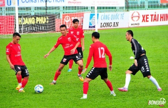Đá tập không ngoại binh, Long An chuẩn bị trận play-off với Viettel