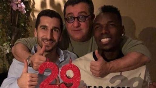 Mkhitaryan tổ chức sinh nhật bên cạnh Pogba và Raiola