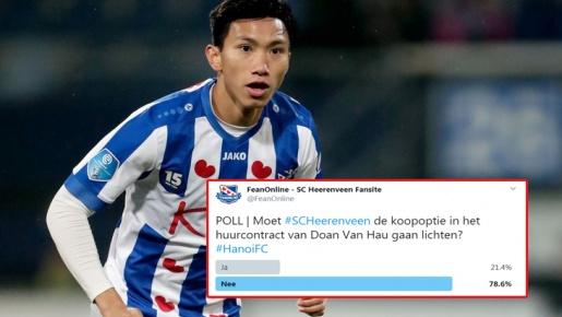 CĐV SC Heerenveen làm điều phũ phàng, tương lai Đoàn Văn Hậu càng mờ mịt