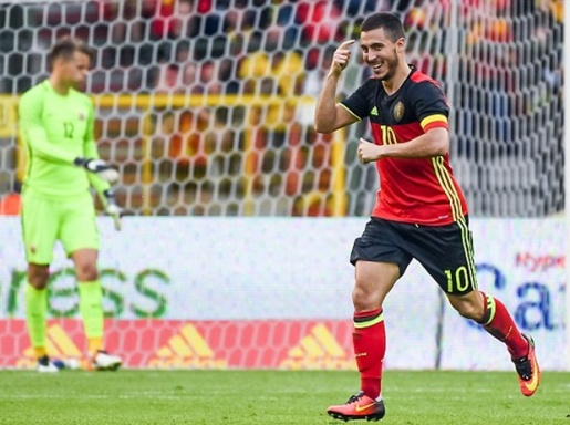Hazard trong màu áo tuyển Bỉ. Ảnh: Internet.
