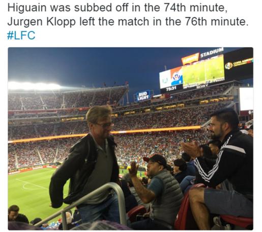 Klopp rời sân ngay khi Higuain được cho ra nghỉ. Ảnh: Internet.