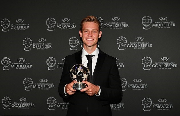 ảnh Van Dijk nhận giải Cầu thủ xuất sắc nhất năm - Bóng Đá