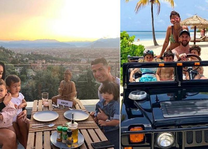 Đây! Hình ảnh tuyệt vời của Messi và Ronaldo bên cạnh gia đình nhỏ