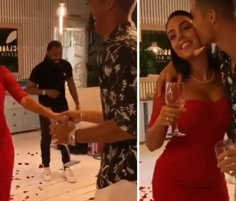 Bạn gái Ronaldo diện đầm đỏ bó sát người, khoe cơ thể quyến rũ