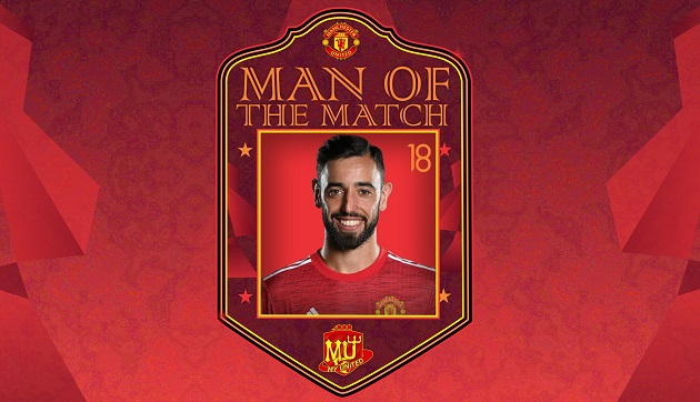 Phá dớp cho Man Utd, Fernandes lần thứ 4 giành MOTM từ đầu mùa
