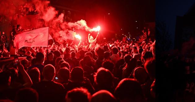 Hình ảnh các CĐV Liverpool ăn mừng vô địch (The Sun) - Bóng Đá