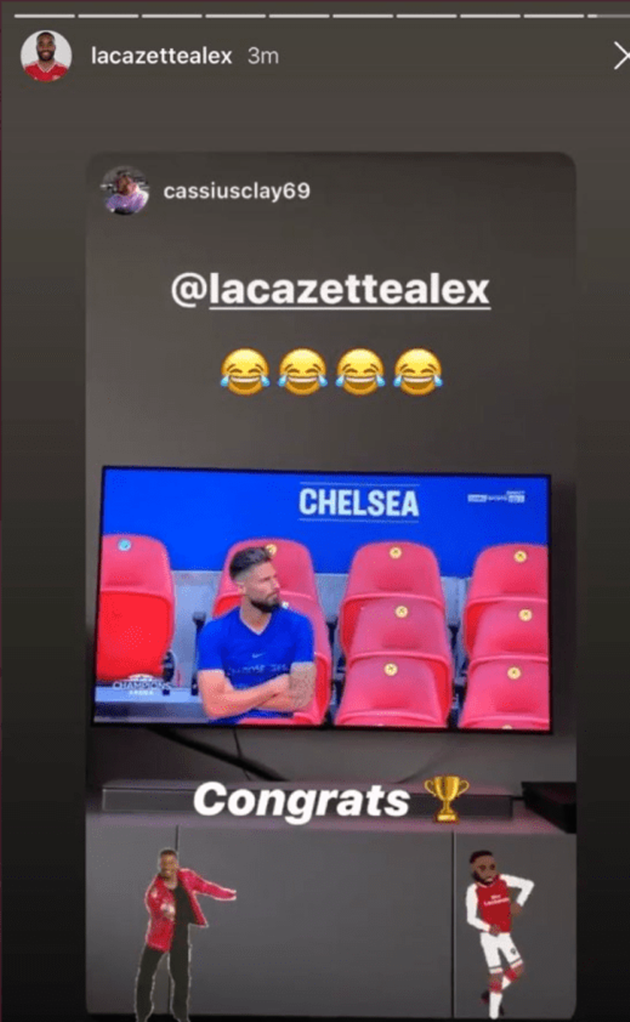 Alexandre Lacazette shares social media post trolling Olivier Giroud after Arsenal FA Cup win - Bóng Đá