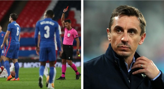 Gary Neville slams Manchester United captain Harry Maguire over England red card during Denmark defeat - Bóng Đá