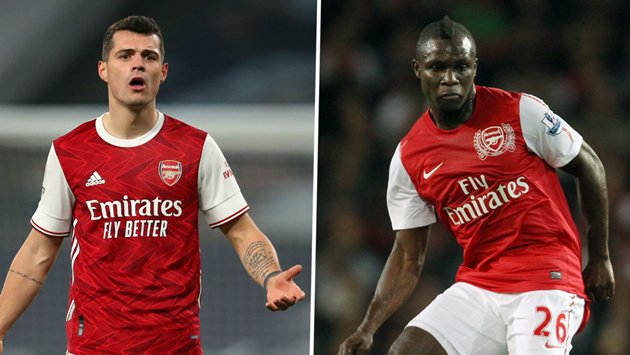 'Sell Xhaka and sign me on a free!' - Ex-Arsenal midfielder Frimpong  - Bóng Đá