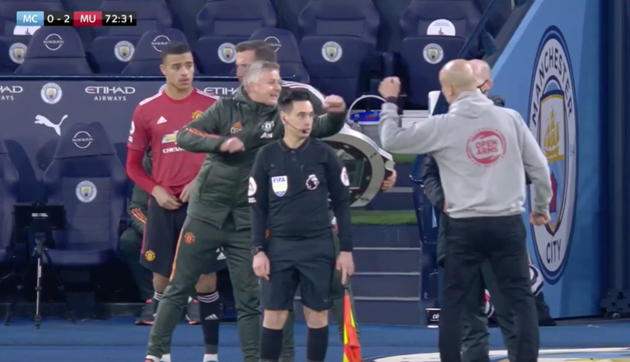 Solskjaer and Guardiola clash after fist-bump on touchline - Bóng Đá