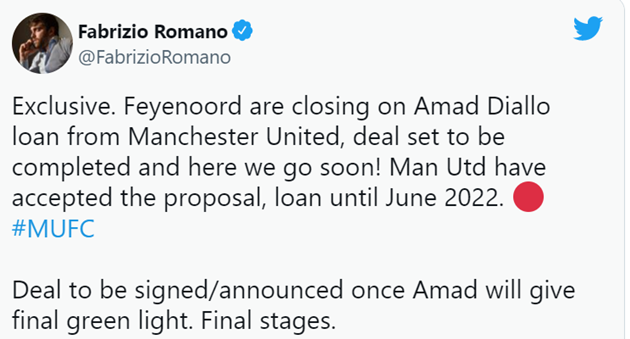 Feyenoord closing in on loan deal for Manchester United starlet (Amad Diallo) - Bóng Đá