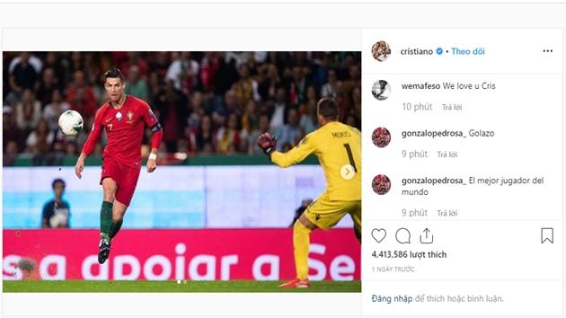 Cristiano Ronaldo đăng trên Instagram sau trận Luxembourg - Bóng Đá