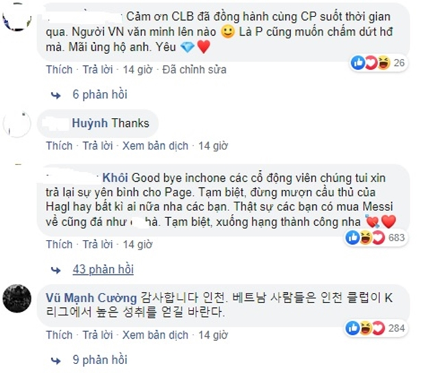 CĐV Việt Nam cảm ơn Incheon vì đã