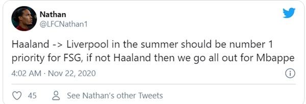 Fan Liverpool ủng hộ mua Haaland - Bóng Đá