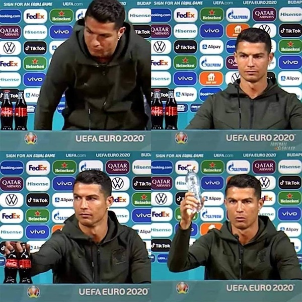 Cristiano Ronaldo's Reaction To Coca-Cola Bottles At Portugal's Euro 2020 Conference Is Priceless - Bóng Đá