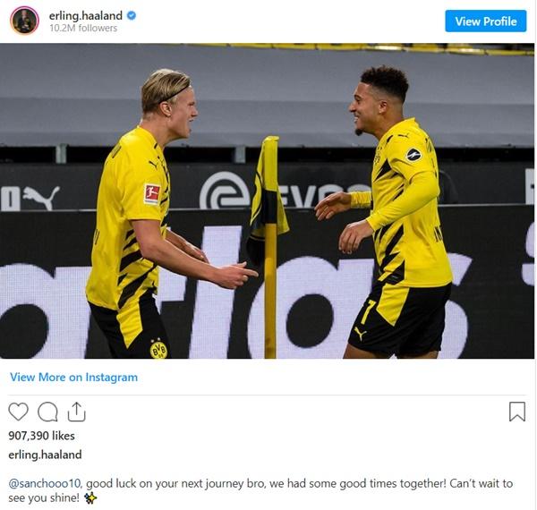 Erling Haaland sends message to Jadon Sancho after United move confirmed - Bóng Đá