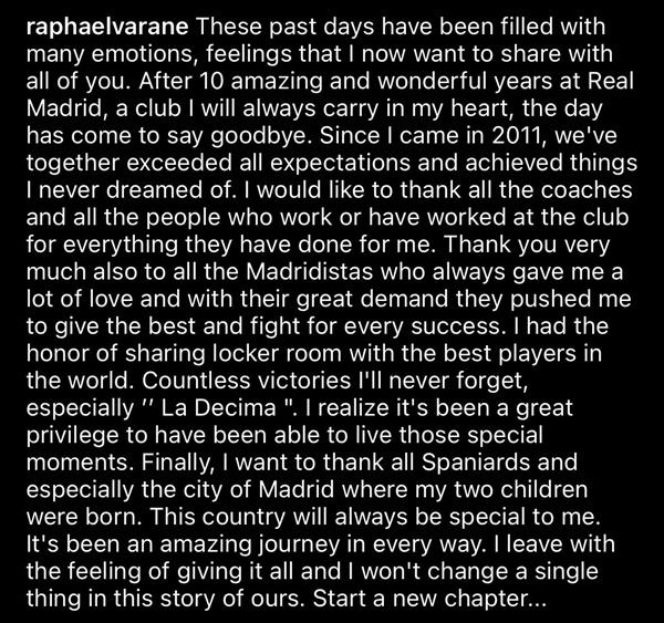 Varane viết tâm thư chia tay Real - Bóng Đá
