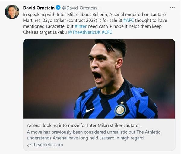 David Ornstein drops Arsenal transfer update on Inter star Lautaro Martinez - Bóng Đá