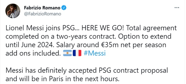 Romano xác nhận thương vụ Messi - Bóng Đá