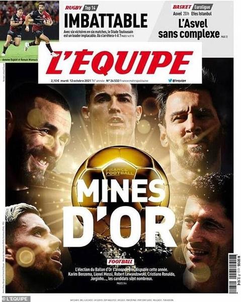 The golden boys! L'Equipe name Lionel Messi, Cristiano Ronaldo, Jorginho, Robert Lewandowski and Karim Benzema - Bóng Đá