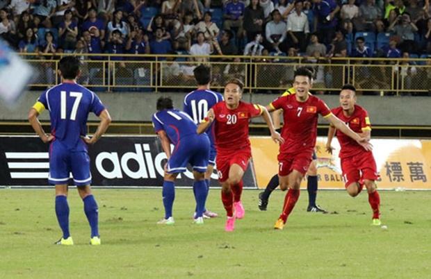 Tuyển Việt Nam đã có một chiến thắng may mắn khi hạ Đài Loan 2-1 trong thế trận bị đội chủ nhà lấn lướt. Ảnh: Internet.