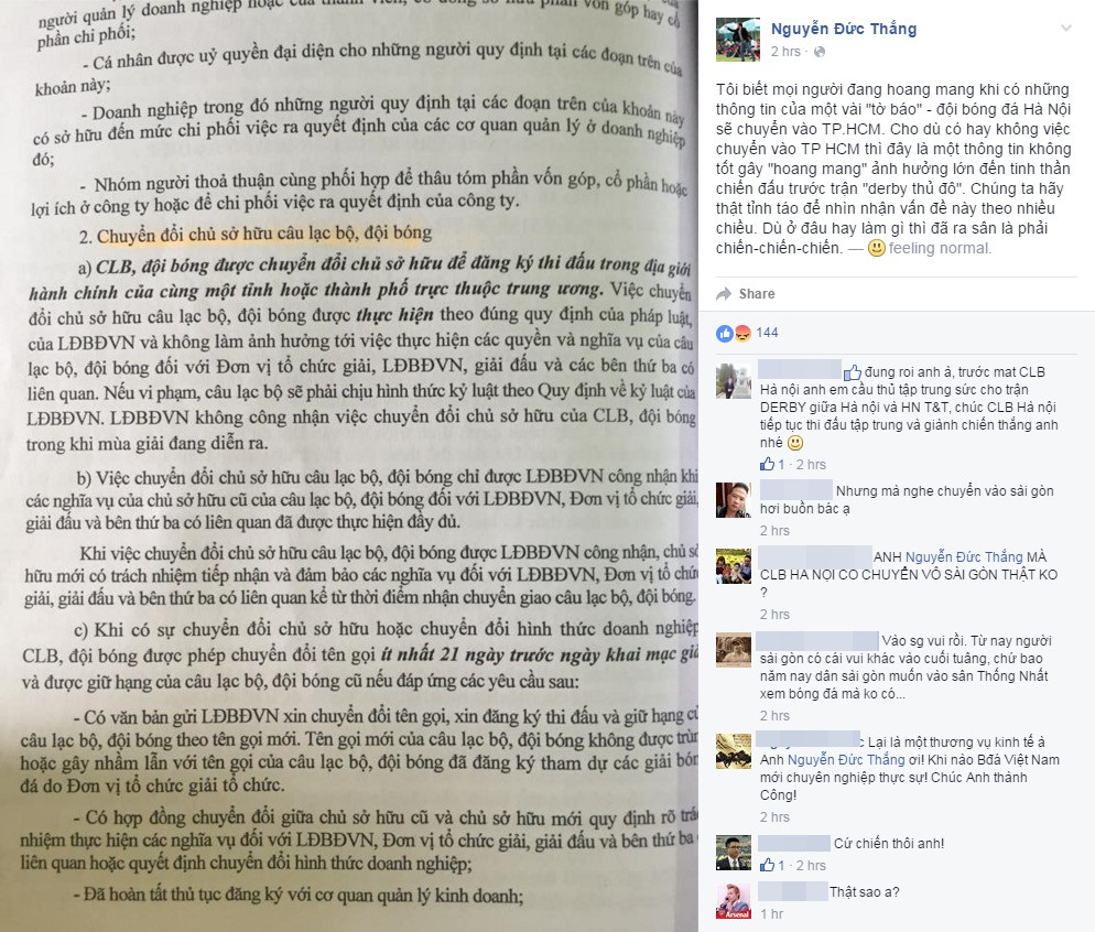 HLV Nguyễn Đức Thắng động viên học trò trên facebook. Ảnh chụp màn hình.