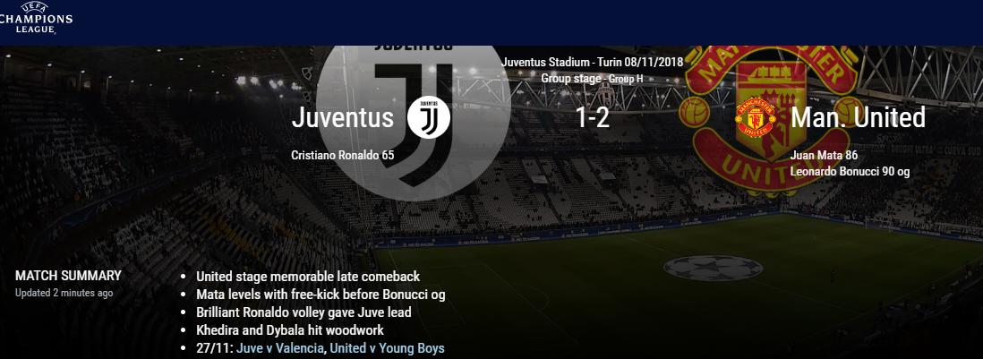 Tranh cãi: Bonucci hay Sandro đá phản lưới trận Juventus 1-2 Man Utd? - Bóng Đá