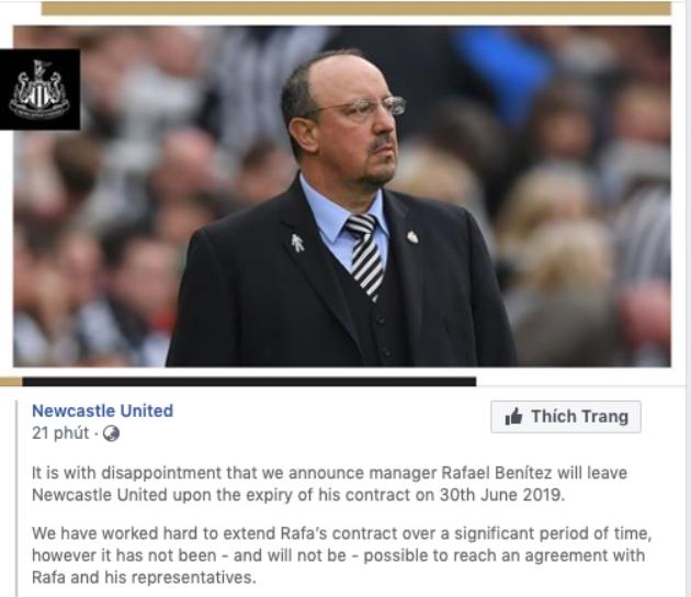 Rafael Benítez will leave Newcastle United - Bóng Đá