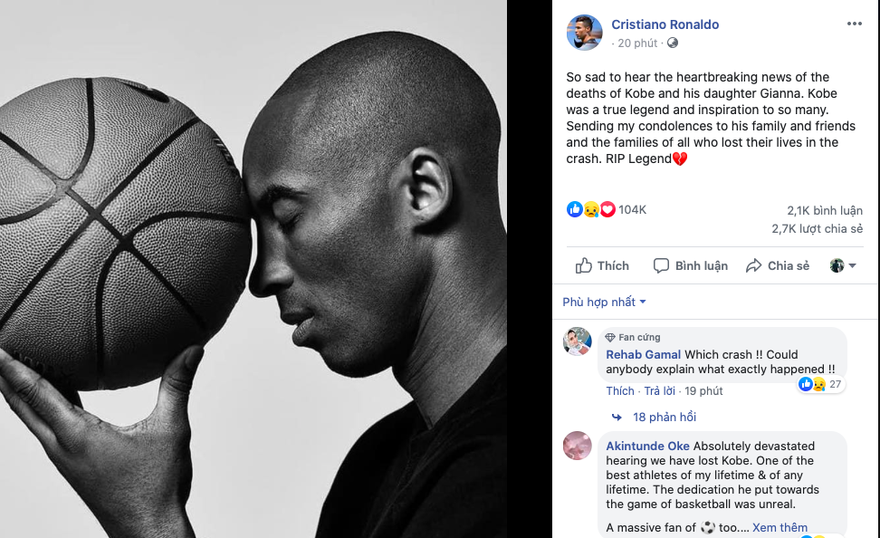 Football stars pay tribute to Kobe Bryant after basketball hero dies in helicopter crash - Bóng Đá