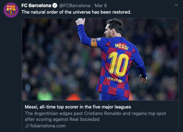 Barcelona's official Twitter trolls Cristiano Ronaldo after Lionel Messi breaks goal record - Bóng Đá