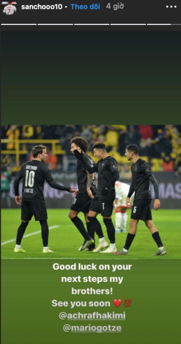Sancho sends farewell message to teammate - Bóng Đá