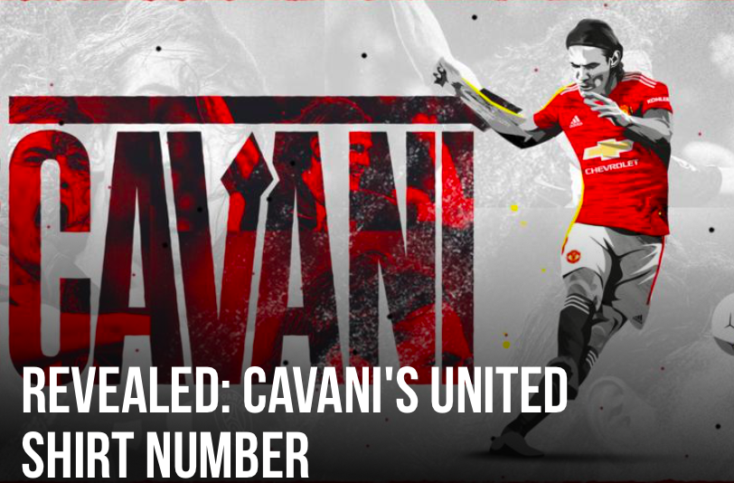 Edinson Cavani officially given Manchester United's 'cursed' number seven shirt  - Bóng Đá