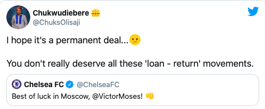 Chelsea fans react to Victor Moses completing loan move to Spartak Moscow - Bóng Đá