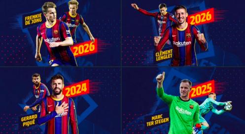 Barcelona - Agreement for contract extensions for Piqué, Ter Stegen, De Jong and Lenglet - Bóng Đá