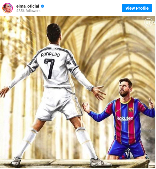 Elma Aveiro - Ronaldo's sister posts picture of Messi worshipping Juventus star after his two goals against Barcelona - Bóng Đá