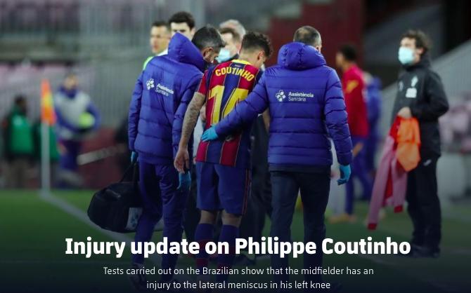 Coutinho injury updated - Bóng Đá