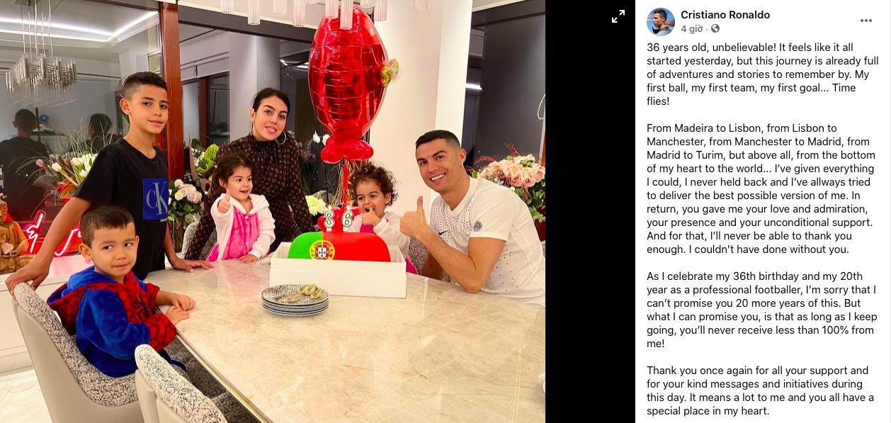 Đón sinh nhật tuổi 36 bên gia đình, Ronaldo không hứa sẽ chơi bóng thêm... 20 năm nữa - Bóng Đá